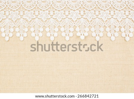 Fabric textile with Burlap and white Lace use for background - stock photo