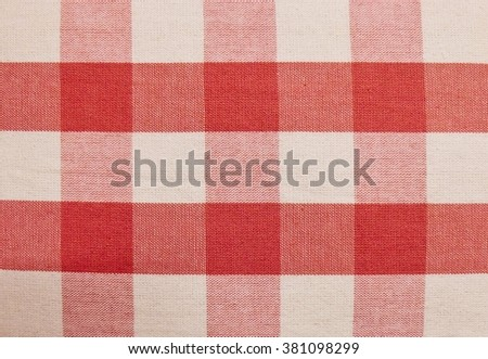Fabric Texture, Close Up of Red and White Lumberjack Plaid Towel or Napkin Pattern Background. - stock photo