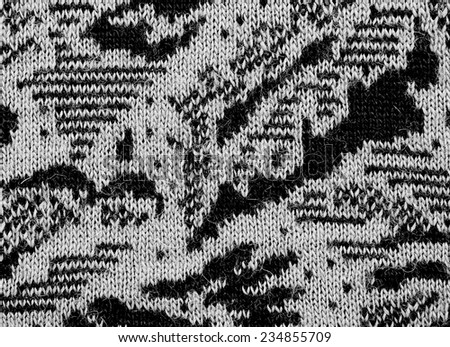 fabric texture endless pattern, black and white background - stock photo