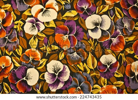 Fabric texture flowered violet close up - stock photo