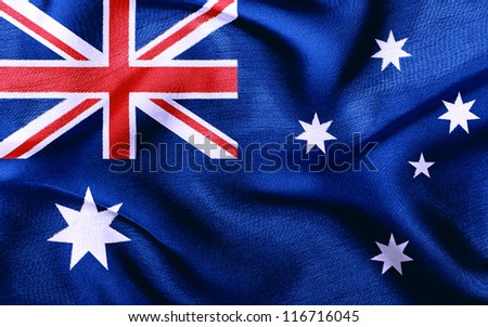 Fabric texture of the flag of Australia - stock photo