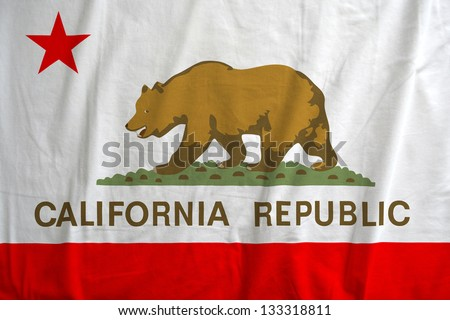Fabric texture of the flag of California Republic, USA - stock photo