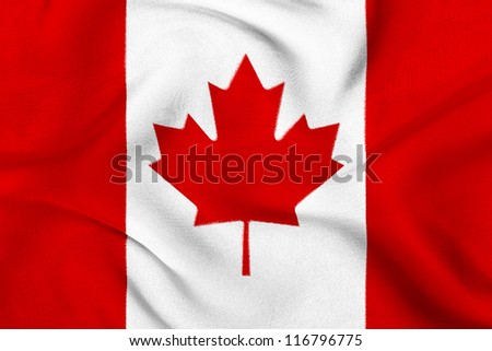 Fabric texture of the flag of Canada - stock photo