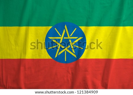 Fabric texture of the flag of Ethiopia - stock photo