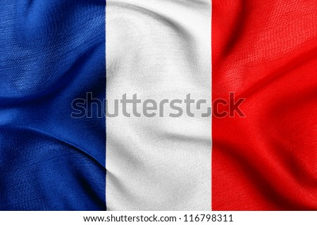 Fabric texture of the flag of France - stock photo
