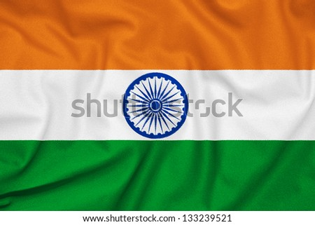 Fabric texture of the flag of India - stock photo