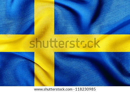 Fabric texture of the flag of Sweden - stock photo