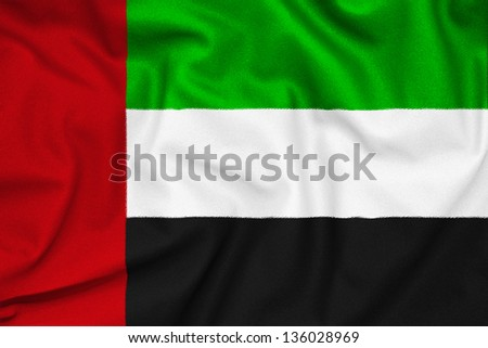 Fabric texture of the flag of UAE - stock photo