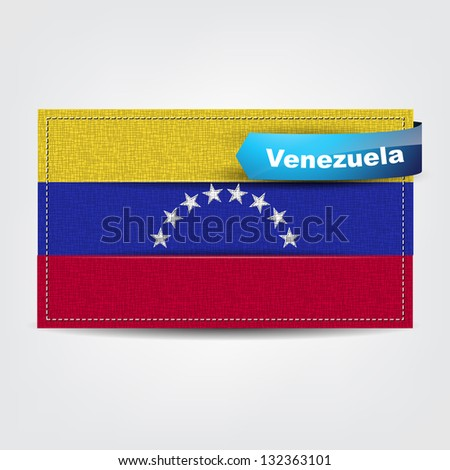 Fabric texture of the flag of Venezuela with a blue bow. (Raster from Vector)