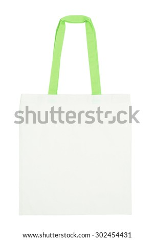 Fabric tote bag with green handle isolated on white  - stock photo
