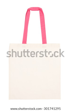Fabric tote bag with pink handle isolated on white background - stock photo