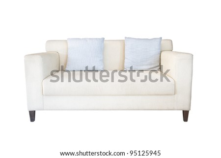 fabric white sofa on white background - stock photo