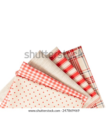 Fabrics and accessories for decoration. Tablecloths and napkins for the table isolated.  - stock photo