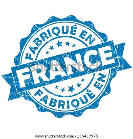 fabrique en france stamp - stock photo