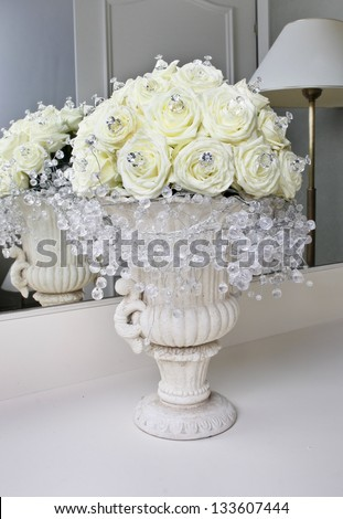 Fabulous Bouquet White Roses Shining Crystals Stock Photo 133607444