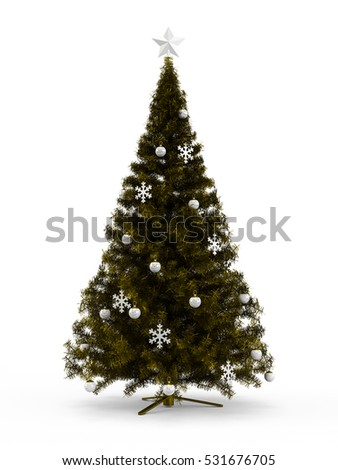 Fabulous Christmas tree with Gold Golden ornaments on it isolated on white background. 3D Rendering, Illustration.