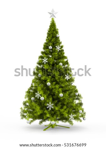Fabulous Christmas tree with Lime Green ornaments on it isolated on white background. 3D Rendering, Illustration.