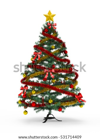 Fabulous Christmas tree with variegated ornaments on it isolated on white background. 3D Rendering, Illustration.