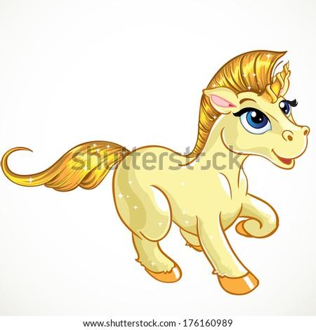 fabulous gold baby unicorn - stock photo