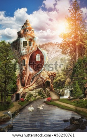 fabulous palace (shell) at the source of the river in the forest - stock photo