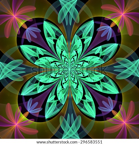 Fabulous symmetrical pattern of the petals. Blue and beige palette.  Computer generated graphics. - stock photo