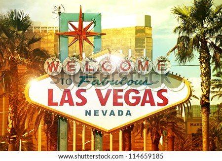 Fabulous Vegas - Welcome to Fabulous Las Vegas, Nevada - Vegas Strip Entrance Sign. American Cities Photo Collection - stock photo