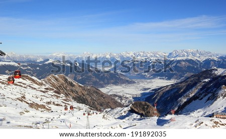 Fabulous Views - Kitzsteinhorn Mountain ski area, Austria. The Alps. - stock photo