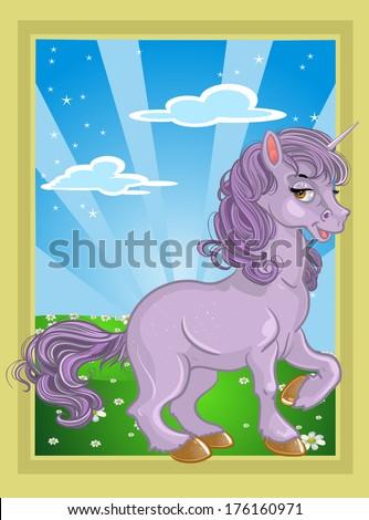 fabulous violet unicorn on the fairytale landscape - stock photo