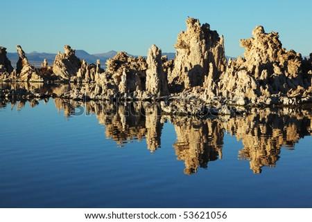Fabulously beautiful Mono Lake with fantastic riffs. Sunset - stock photo