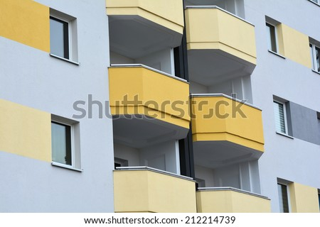 Facade and balcony of a residential building in Magdeburg - stock photo