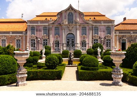 Facade and garden of Queluz National Palace, in Sintra, Lisbon district, Portugal - stock photo