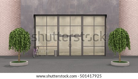 facade big store; 3d illustration