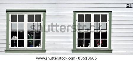 facade closeup in typical norwegian village - stock photo