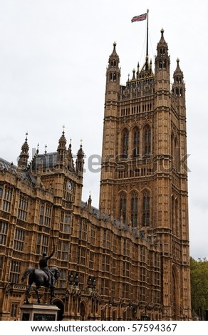 Facade details. Houses of Parliament. London. UK. - stock photo