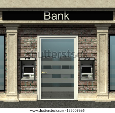 facade of a bank branch with automated teller machine
