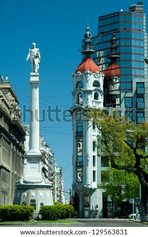 Facade of a building, Buenos Aires, Argentina - stock photo