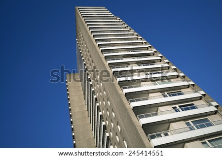 Facade of a contemporary apartment building in Hamburg, Germany - stock photo