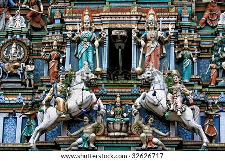 Facade of a Hindu temple in Kuala Lumpur, Malaysia - stock photo
