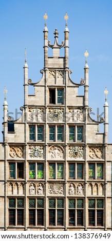 Facade of a house along the Graslei in Ghent, Belgium  - stock photo