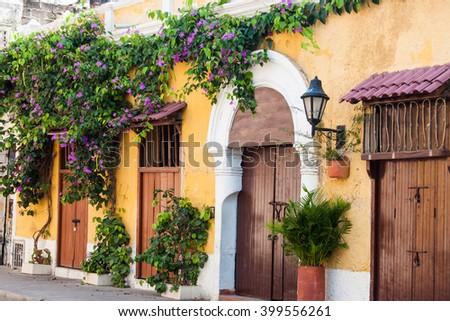 Facade of a house in Cartagena de Indias - stock photo