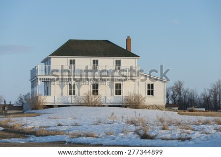 Facade of a house, Riverton, Hecla Grindstone Provincial Park, Manitoba, Canada - stock photo