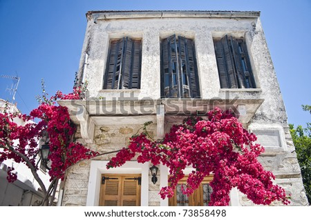 Facade of a mediterranean House with blooming Tree - stock photo