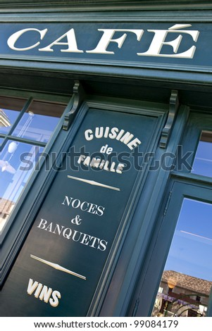 Facade of a pub in a French village near Bordeaux - stock photo