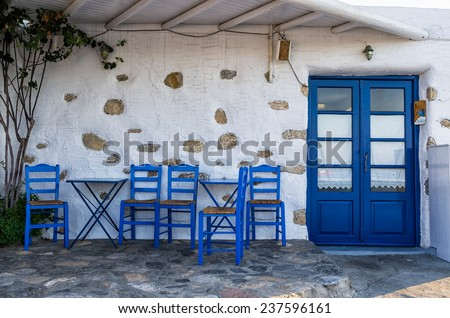 Facade of a small traditional tavern in Ano Koufonisi, Cyclades, Greece - stock photo