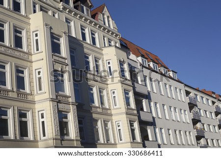 Facade of a traditional apartement building in Kiel, Germany - stock photo