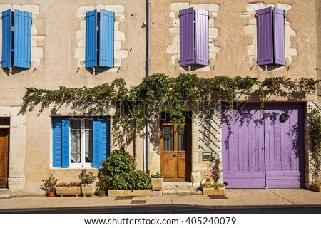 Facade of a traditional building in Provence, France - stock photo