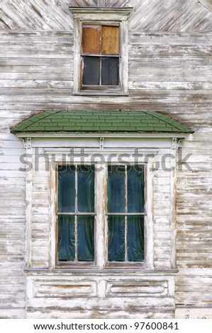 facade of an abandoned wood house, Wyoming, Usa - stock photo