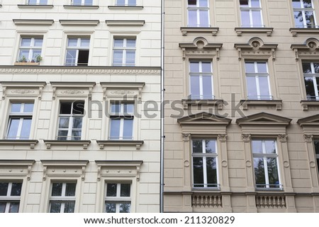 Facade of an apartment building in Berlin, Germany