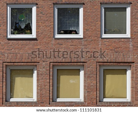 Facade of an apartment building in Kiel, Germany - stock photo