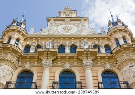 Facade of an Art Nouveau Palace in Riga, Latvia - stock photo